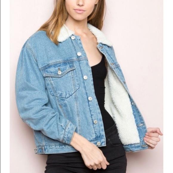 b0471b229922 Brandy Melville Jackets   Blazers - Brandy Melville Shine Sherpa lined  denim jacket
